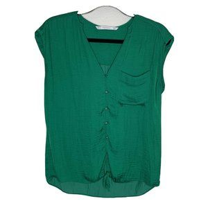 ZARA Small Blouse Vneck Sleeveless Top Button Up